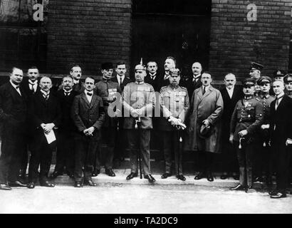 The captured putschists after the failed Beer Hall Putsch in Munich.From left to right: Freikorps leader Dr. Friedrich Weber (in uniform) Lieutenant Colonel Hermann Kriebel (in uniform with spiked helmet), General Erich Ludendorff, Adolf Hitler, Captain Ernst Roehm (in uniform, hand on sword hilt), Lieutenant Colonel Wilhelm Brueckner (in uniform, behind Roehm, in profile), Lieutenant Colonel Heinz Pernet (behind Roehm). - Stock Photo