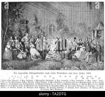 The Bavarian royal family in 1862: 1. Princess Therese, 2. Prince Ludwig, 3. Princess Luitpold, 4. Prince Leopold, 5. Prince Luitpold, 6. Prince Louis Ferdinand, 7. Princess Alexandra, 8. Prince Arnulf, 9. Prince Alfonso, 10. Prince Adalbert, 11. King Otto of Greece, 12. Princess Adalbert, 13. Queen of Greece, 14. King Ludwig II, 15. Otto, 16. Queen Mary, 17. King Max II, 18. King Ludwig I, 19. Prince Charles, 20. Empress of Austria, 21. Duchess Max, 22. Duchess Alencon, 23. Princess of Thurn and Taxis, 24. Countess Trani, 25. Queen of Naples, 26. Duke Ludwig, 27. Duke Karl Theodor, 28. Duke - Stock Photo