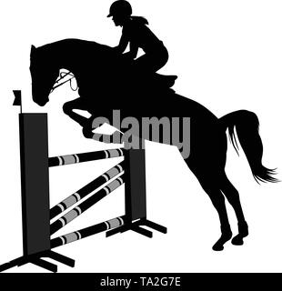 jumping show. horse  with jockey jumping a hurdle silhouette - vector - Stock Photo