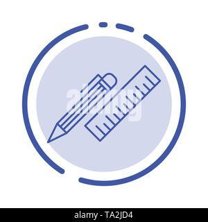 Pen, Desk, Organizer, Pencil, Ruler, Supplies Blue Dotted Line Line Icon - Stock Photo