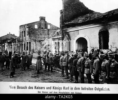 Karl I, Emperor of Austria, greets German and Austro-Hungarian officers on the main square of Kalush (Kalusz) during a visit to recaptured East Galicia on the Eastern Front. - Stock Photo