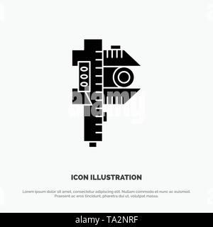 Measuring, Accuracy, Measure, Small, Tiny solid Glyph Icon vector - Stock Photo