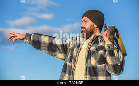 Hunting permit. Hunting brutal masculine hobby. Hunting and trapping seasons. Bearded serious hunter spend leisure hunting. Look there. Noticed game. Man brutal unshaved gamekeeper nature background. - Stock Photo
