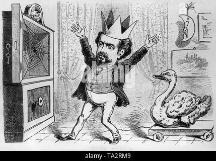 The Bavarian King Ludwig II moans about the empty vault of the State Treasury. Above the vault a medallion with the portrait of Richard Wagner, the reason for the financial difficulties of the Bavarian State. Cartoon of the satirical magazine Kikeriki from May 16. 1886. - Stock Photo