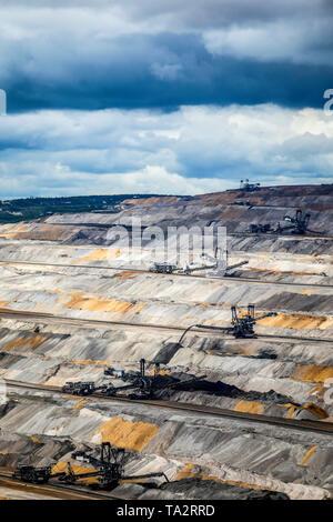 Elsdorf, Rhineland, North Rhine-Westphalia, Germany - RWE Lignite opencast mine Hambach.  Elsdorf, Rheinland, Nordrhein-Westfalen, Deutschland - RWE B - Stock Photo