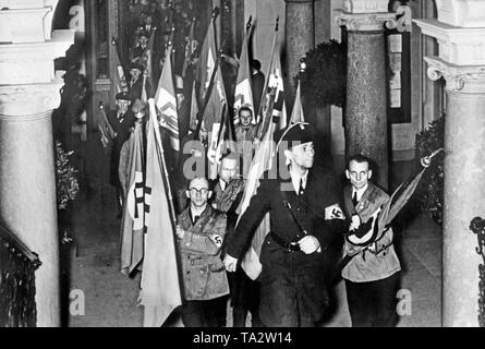 The battle flags of the former Sudeten German Party are stored in the town hall of Reichenberg (today Liberec). After the annexation of the Sudetenland to the German Reich, the SdP was dissolved and merged into the NSDAP. - Stock Photo