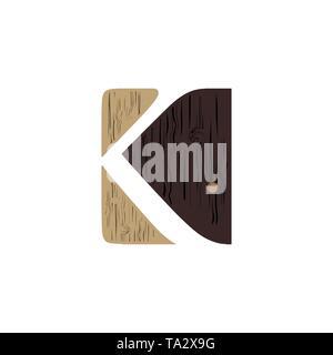 Creative Logo letter K wood design - Stock Photo