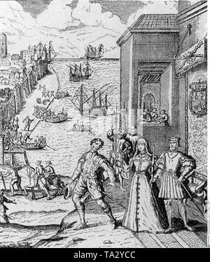 Italian navigator in the service of Spain, Christopher Columbus bids farewell to King Ferdinand and Queen Isabella, who financed his voyage of discovery to America, in the harbor his three ships. - Stock Photo