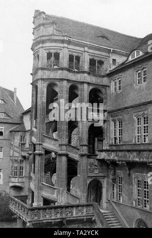 View of the Grossen Wendelstein (large staircase tower), the Renaissance staircase of Hartenfels Castle in Torgau on the Elbe, Saxony. - Stock Photo