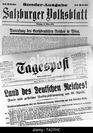 The Salzburger Volksblatt and the Tagespost report on the annexation of Austria to the German Reich. - Stock Photo