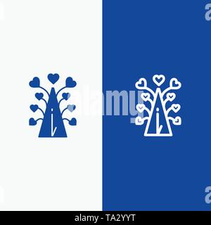 Love, Tree, Heart, Valentine, Valentine's Day,  Line and Glyph Solid icon Blue banner Line and Glyph Solid icon Blue banner - Stock Photo