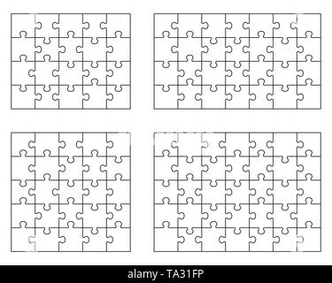 Vector illustration of four different white puzzles, separate pieces - Stock Photo