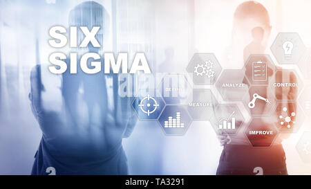Six Sigma, manufacturing, quality control and industrial process improving concept. Business, internet and tehcnology - Stock Photo