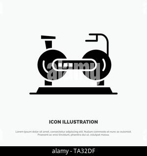 Bicycle, Cycle, Exercise, Bike, Fitness Solid Black Glyph Icon - Stock Photo