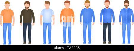 Full length men icon set, male avatars in flat style, stylish guys vector illustration - Stock Photo