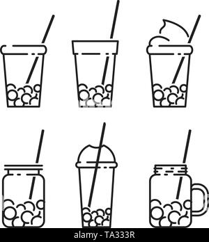 Bubble tea icon set in line style, with milk tea, shake, drink, pouring, boba juice and more. vector line illustration - Stock Photo