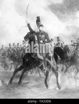 A contemporary engraving depicting the young prince Luitpold, later Prince Regent, as a young cavalry officer of the Bavarian army around 1840. - Stock Photo