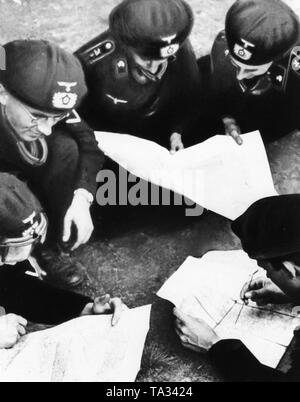 Officers of an armored group studying maps during a maneuver of the Panzertruppenschule (Armoured Troops School) in Wunsdorf. - Stock Photo