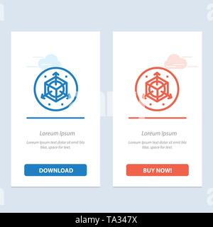 Scale, Modification, Design, 3d  Blue and Red Download and Buy Now web Widget Card Template - Stock Photo