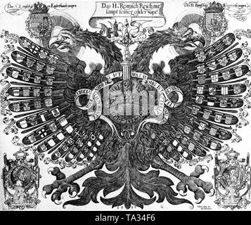Representation of a double-headed Reichsadler (Imperial Eagle) as Quaternion Eagle after a copper engraving by Johann Bussemacher from Cologne. This is an ideal-typical representation of the Empire in its coat of arms, a double-headed, haloed eagle (endowed with a halo), which protects the Estates of the Empire under its wing. The motif is symmetrical, the coats of arms of the German Emperor and King Rudolf II (1552-1612) are depicted at his feathers on the right and left of the haloed heads. The Emperor's coat of arms on the left leads Castile, Aragon, Sicilia, Austria and Burgundy in the - Stock Photo