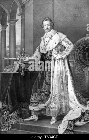 This photograph shows King Ludwig I of Bavaria in coronation robes.  King Ludwig I wears the Order of St. Hubert, the house order of the Wittelsbach, one of the four royal Bavarian orders. On the front is shown the story of the conversion of Saint Hubert. Beside Ludwig I, Maximilian I Joseph, Maximilian II Joseph, Prince Regent Luitpold and King Ludwig III, were also members of the order. After the revolution of July 1830 in Paris, King Louis I conducted a reactionary, restrictive policy, he reinstated the censorship and eliminated the freedom of the press. - Stock Photo