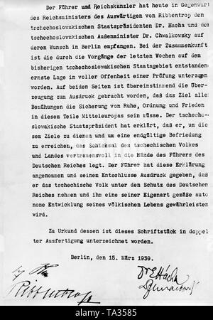German-Czech Declaration on the establishment of the Protectorate of Bohemia and Moravia.  Czech President Emil Hacha and Foreign Minister Frantisek Chvalkovsky met Adolf Hitler and Joachim von Ribbentrop in the New State Chancellery in Berlin.  The National Socialists threatened the Czechs with the bombing of Prague. - Stock Photo