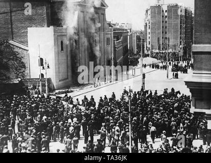 Slikovni rezultat za burning Jesuit convent (today demolished) on the Gran Via in Madrid,