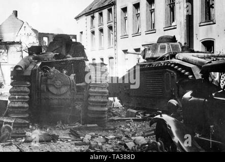 Two downed tanks of the type 'Renault Char B1'. - Stock Photo