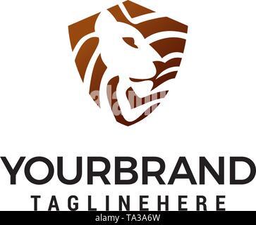 head lion shield logo design concept template vector - Stock Photo