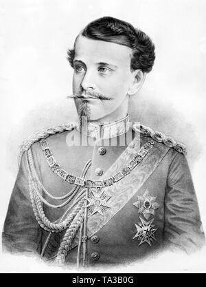 This photograph shows King Otto I of Bavaria, the younger brother of Ludwig II. In this painting, Otto I wears the collar and the cross of the Order of St. George. The Order of St. George was the most famous Bavarian chivalric order and is still the house order of the Wittelsbach dynasty. Otto I could not take the throne after Ludwigs death due to mental derangement. Prince Regent Luitpold ruled in his place and from 1912 Ludwig III. Undated portrait, presumably from the 1870s. - Stock Photo
