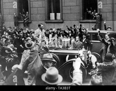 Adolf Hitler in the car driving through the Wilhelmstrasse in Berlin after his appointment as Reich Chancellor. - Stock Photo