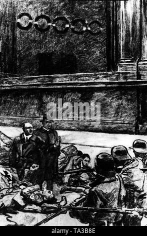 Drawing depicting the defeat of the Beer Hall Putsch at the Odeonsplatz in Munich. Right, the Bavarian state police, left the putschists. In the middle stand Erich Ludendorff (r.) and Julius Streicher (l.), who raises his hand to defend himself. - Stock Photo