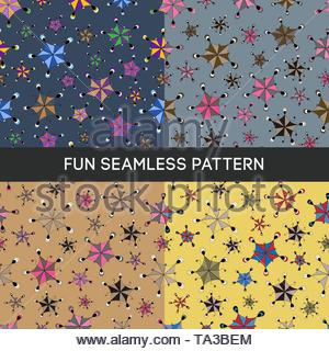 Cute seamless vector pattern with funny figures. Fully editable, on an isolated background. An excellent choice for fabrics, textiles, wallpaper, wrap - Stock Photo