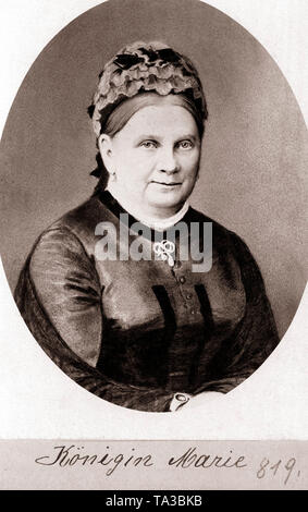 This painting shows Queen Marie of Bavaria, wife of King Maximilian II, mother of the two mentally ill kings Ludwig II and Otto I. Undated photograph - Stock Photo