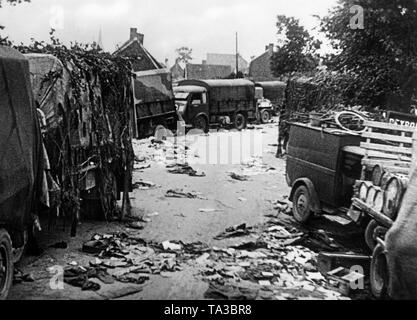Left-behind and destroyed war material of the British troops after the battle. - Stock Photo