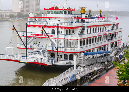 Savannah, GA - November 5, 2018: Georgia Queen paddle wheel river boat moored in Savannah - Stock Photo