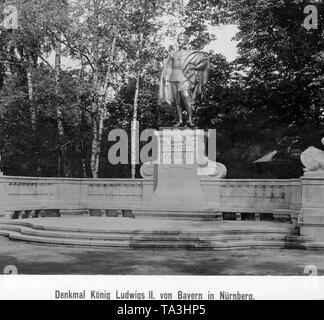This photograph shows the monument of King Ludwig II of Bavaria in Nuremberg. - Stock Photo