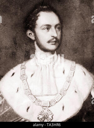 This photo shows the portrait of King Maiximilian II of Bavaria with the collar and the star of the Order of St. Hubert. The Order of St. Hubert is still awarded as the house order of the Wittelsbach. King Maximilian II Joseph of Bavaria was married to Marie Friederike of Prussia, he ascended the throne in 1848, after the abdication of his father. Undated painting - Stock Photo