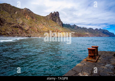Landscape, sea and cliffs, a wide-angle overview of beach Roque de las Bodegas, or Playa del Roque, between Almáciga and Taganana, in the north the An - Stock Photo