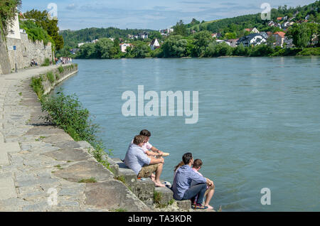 City of Three Rivers - One of the most beautiful cities in Germany, Passau is situated at the confluence of the rivers Danube, Inn and Ilz. - Stock Photo