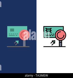 Analysis, Banking, Card, Detection, Fraud  Icons. Flat and Line Filled Icon Set Vector Blue Background - Stock Photo