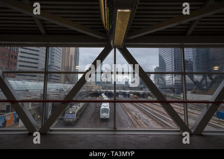 TORONTO, CANADA - NOVEMBER 13, 2018: Go Transit trains on Union station platforms and tracks ready for departure. Go Transit is the commuter transit s - Stock Photo