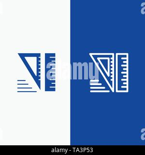 Education, Geometrical, Tools Line and Glyph Solid icon Blue banner Line and Glyph Solid icon Blue banner - Stock Photo