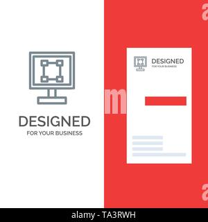 Crop, Graphics, Design, Program, Application Grey Logo Design and Business Card Template - Stock Photo