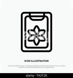 Flower, Clipboard, Spring, Clip Line Icon Vector - Stock Photo