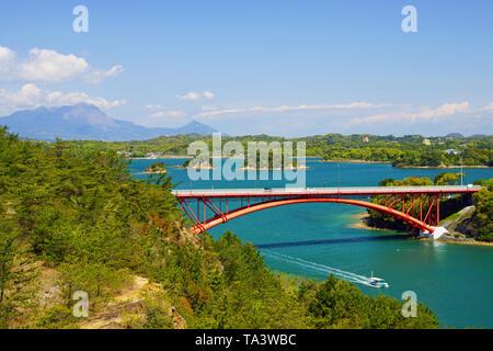 Mt. Unzen fugen and Amakusa Fifth Bridge, Kumamoto Prefecture, Japan - Stock Photo