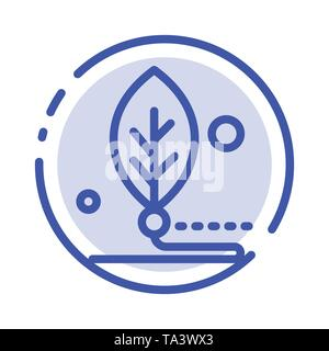 Artificial, Biology, Digital, Leaf, Life Blue Dotted Line Line Icon - Stock Photo