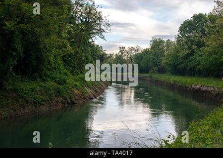 Canal Naviglio Martesana near the town of Canonica d'Adda in north Italy. - Stock Photo