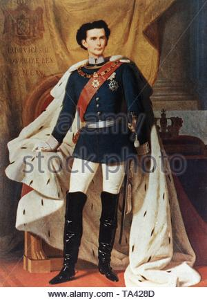 King Ludwig II of Bavaria. 25.8.1845 - 13.6.1886 (painting by Piloty, 1865). King between 1864-1886. Known for his support of Richard Wagner and his magnificent buildings. The circumstances of his death on 13 June 1886 in Lake Starnberg (Wuermsee) are still unclear. - Stock Photo