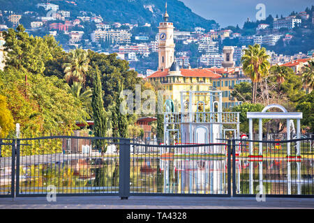 City of Nice cityscape and Fontaine Miroir d eau park view, Alpes-Maritimes region of France - Stock Photo